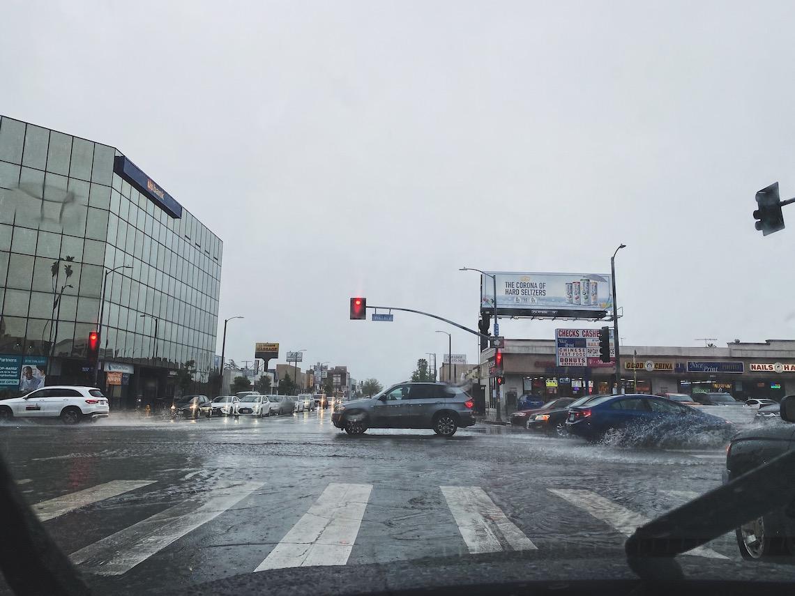 driving in rain-street-red light