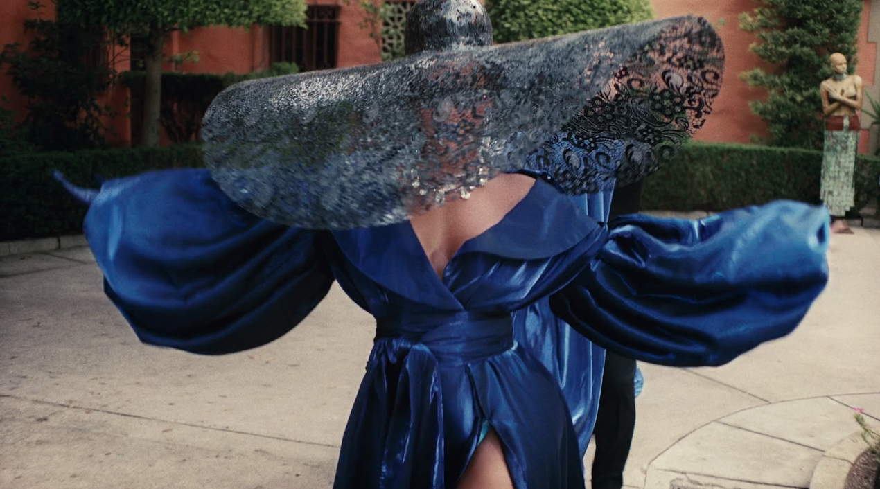 black-is-king-mood-4-eva-beyonce-blue-gown-floppy-hat-outfit-4