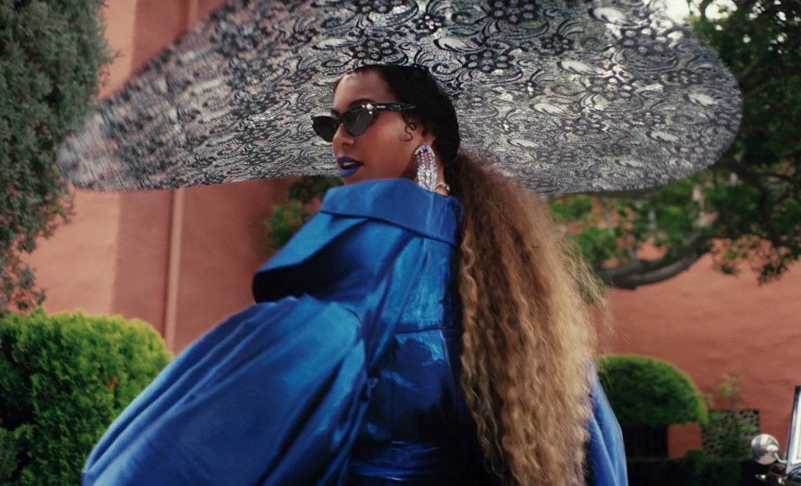 black-is-king-mood-4-eva-beyonce-blue-gown-floppy-hat-outfit-5