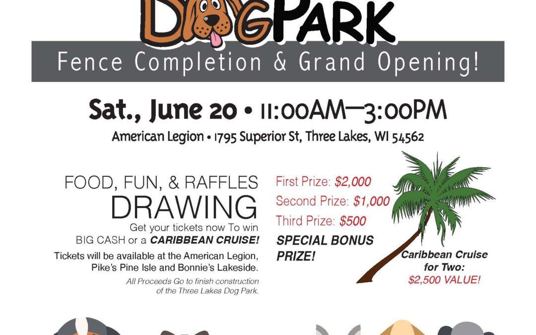 Canceled for 2020 Three Lakes Dog Park Opening Celebration Canceled
