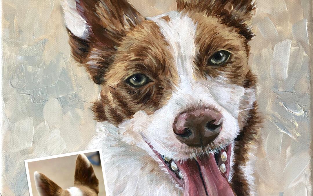 Pet Dog Portrait Oil Painting