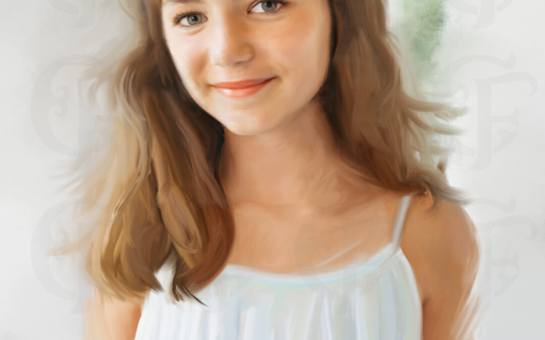 Girl Mix Media Painted Portrait from Photo on Stretched Canvas ,  Alabama