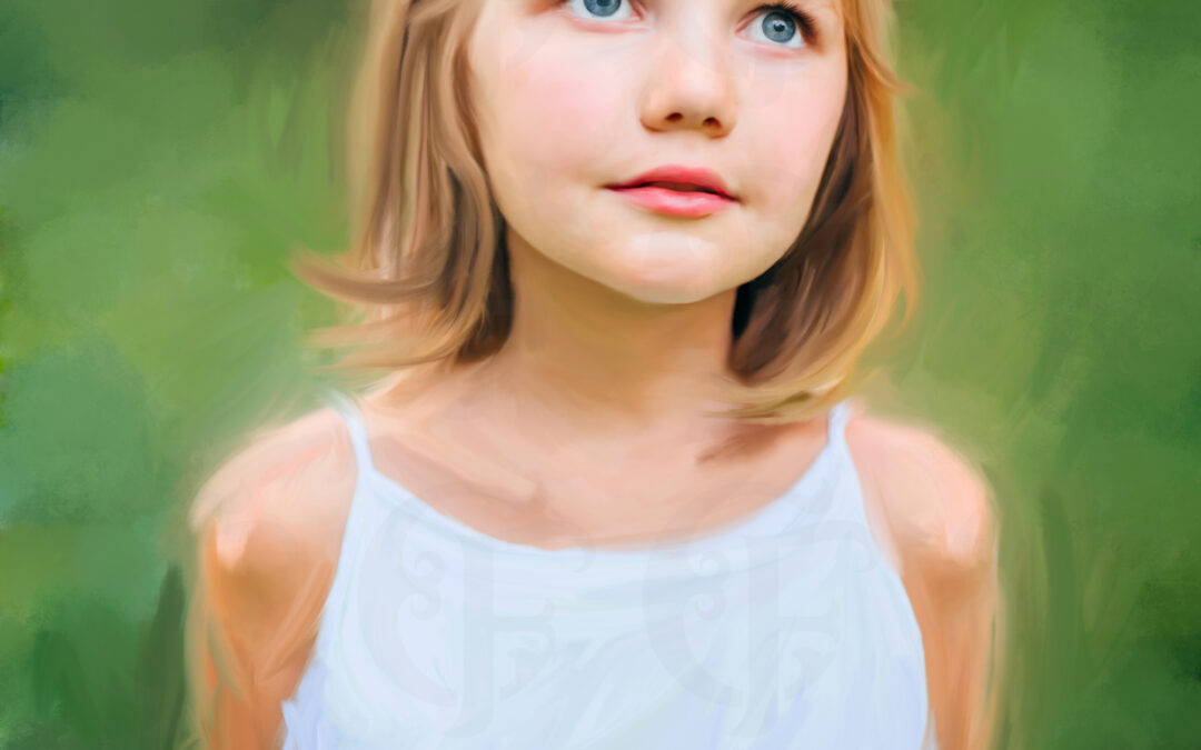 Girls Mix Media Painted Portrait from Photo on Stretched Canvas , Alabama