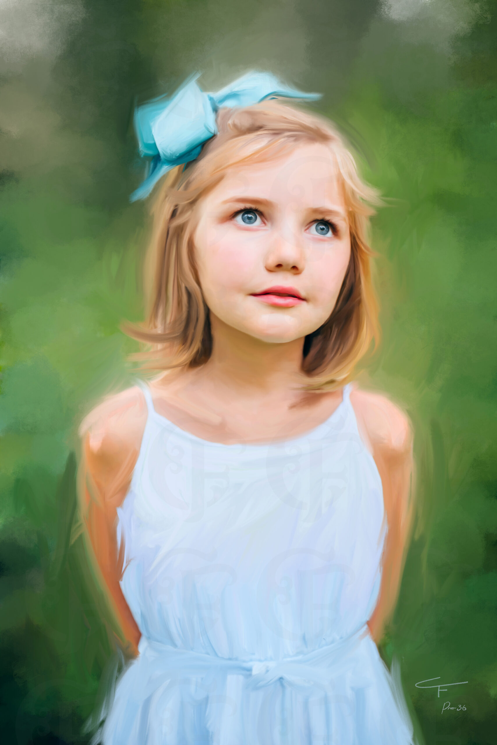 Alabama Kids Painted Portrait Artist from Photo on Stretched Canvas by Carol Ferguson Art