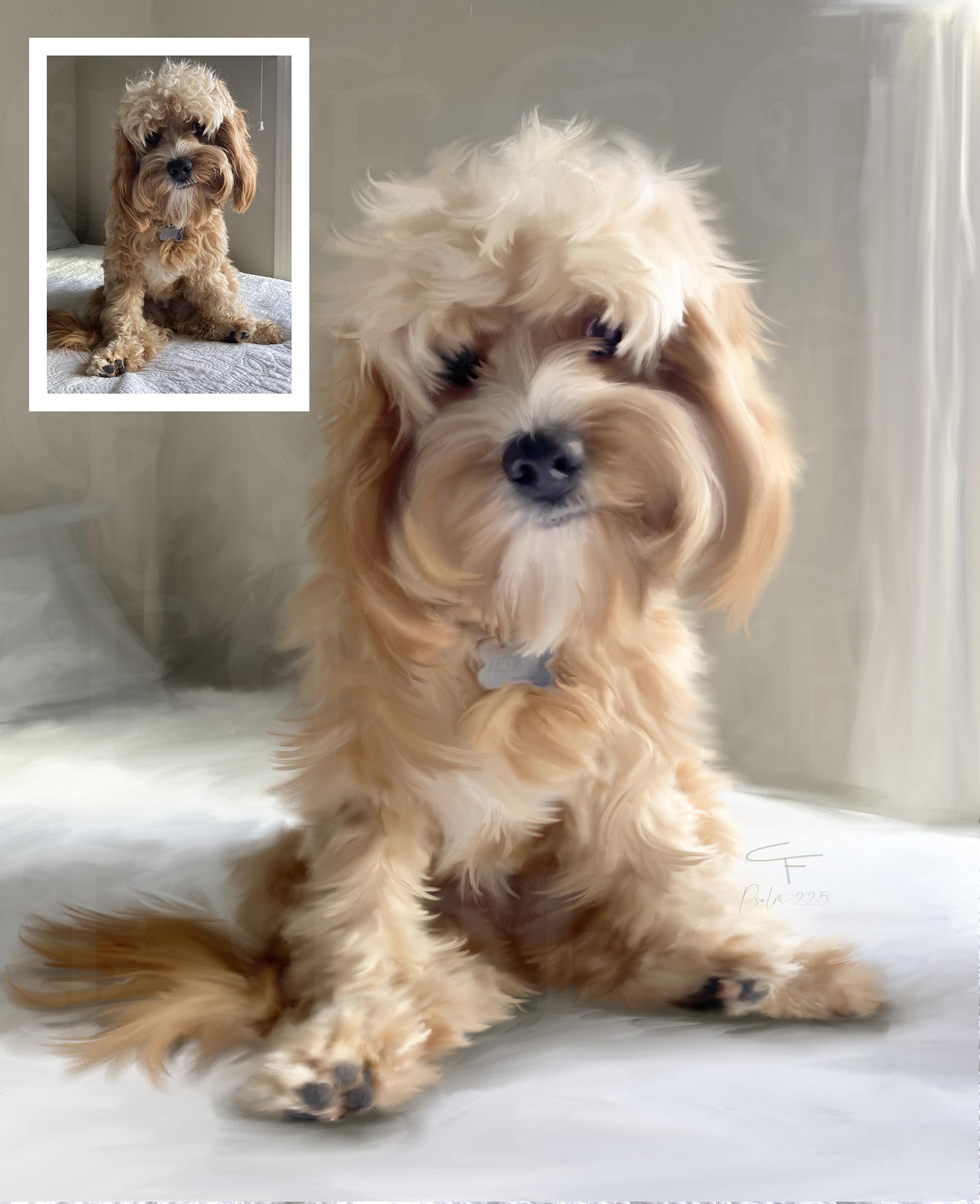 Birmingham Alabama Pet Dog Painted Portrait Artist from Photo on Stretched Canvas by Carol Ferguson Art