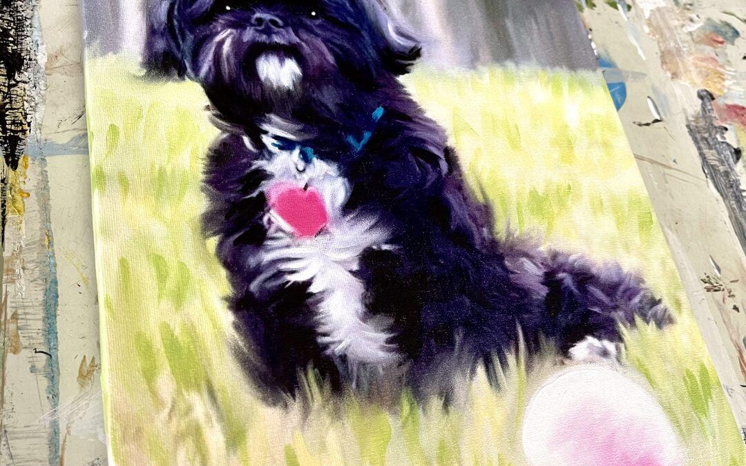 Custom Dog Pet Mix Media Digital Painted Portrait from Your Photo on Stretched Canvas by Carol Ferguson Art Birmingham AL