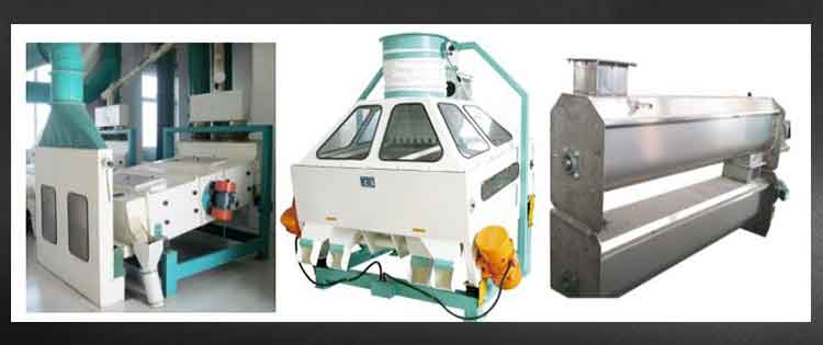 Cleaning section and moisture section of Pre cooking maize mill machine