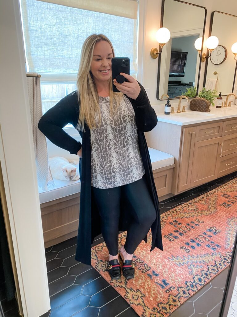 dressy look with flats and a duster cardigan
