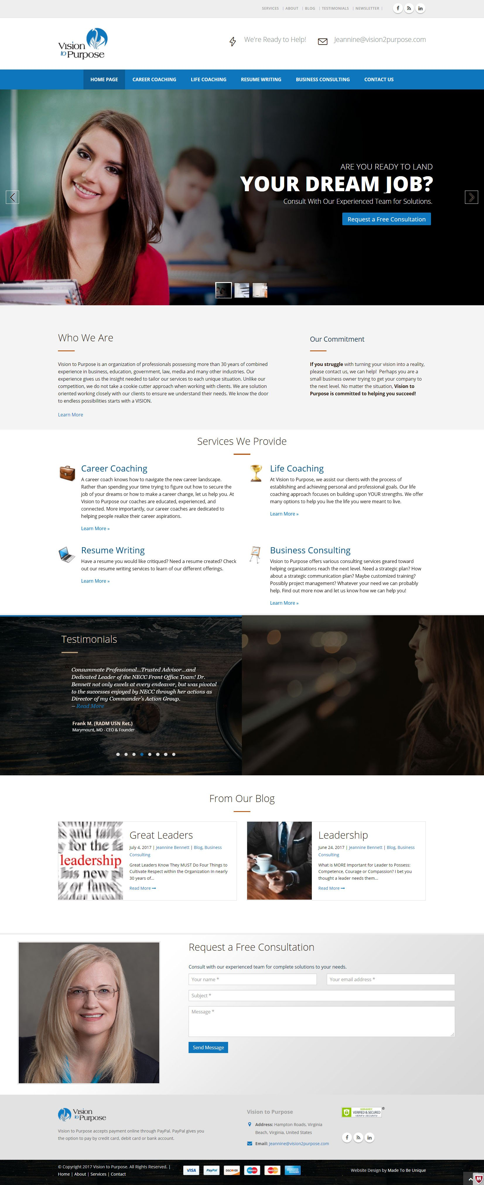 Career Coach Website Design  |  Vision to Purpose