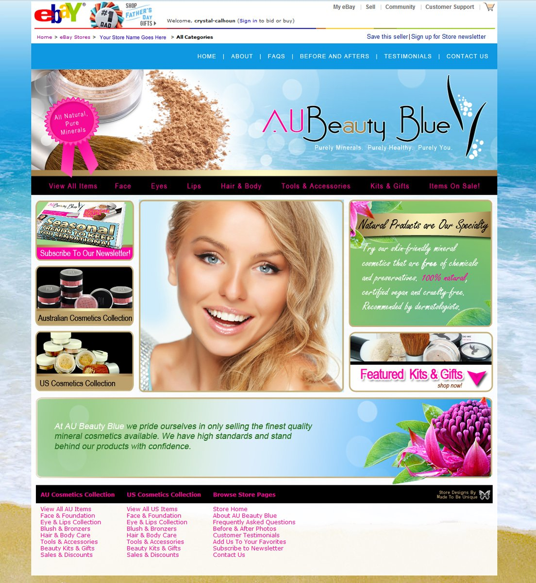 Ebay Store & Ecommerce Design    AU Beauty Blue 2012