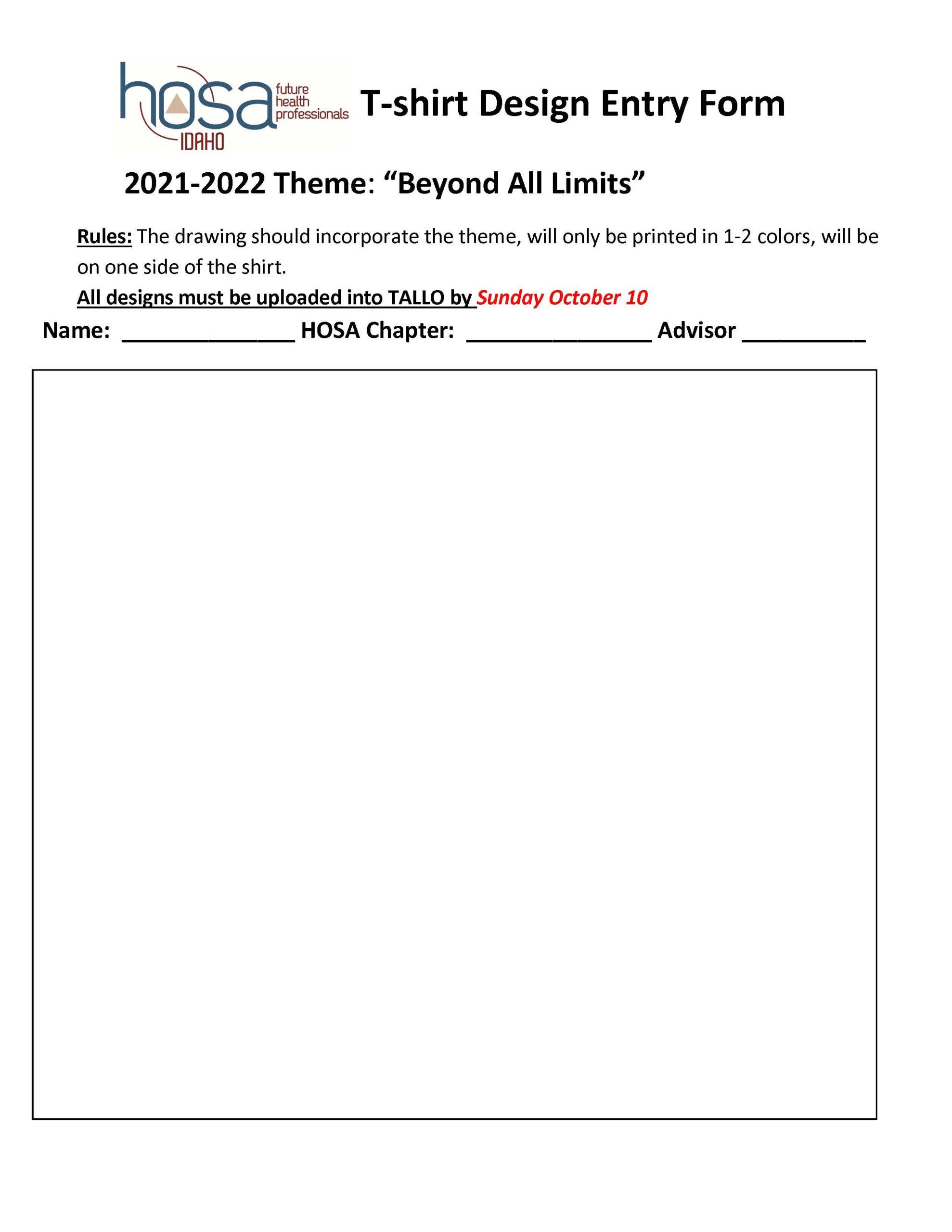 T-shirt design entry form - BLANK 2122