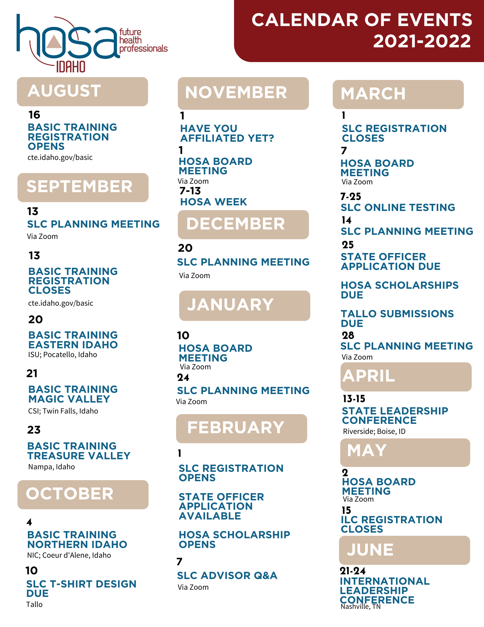 HOSA Calendar of Events 2021-22
