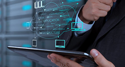 Businessman hand working with a network infrastructure diagram on the new computer interface as concept.