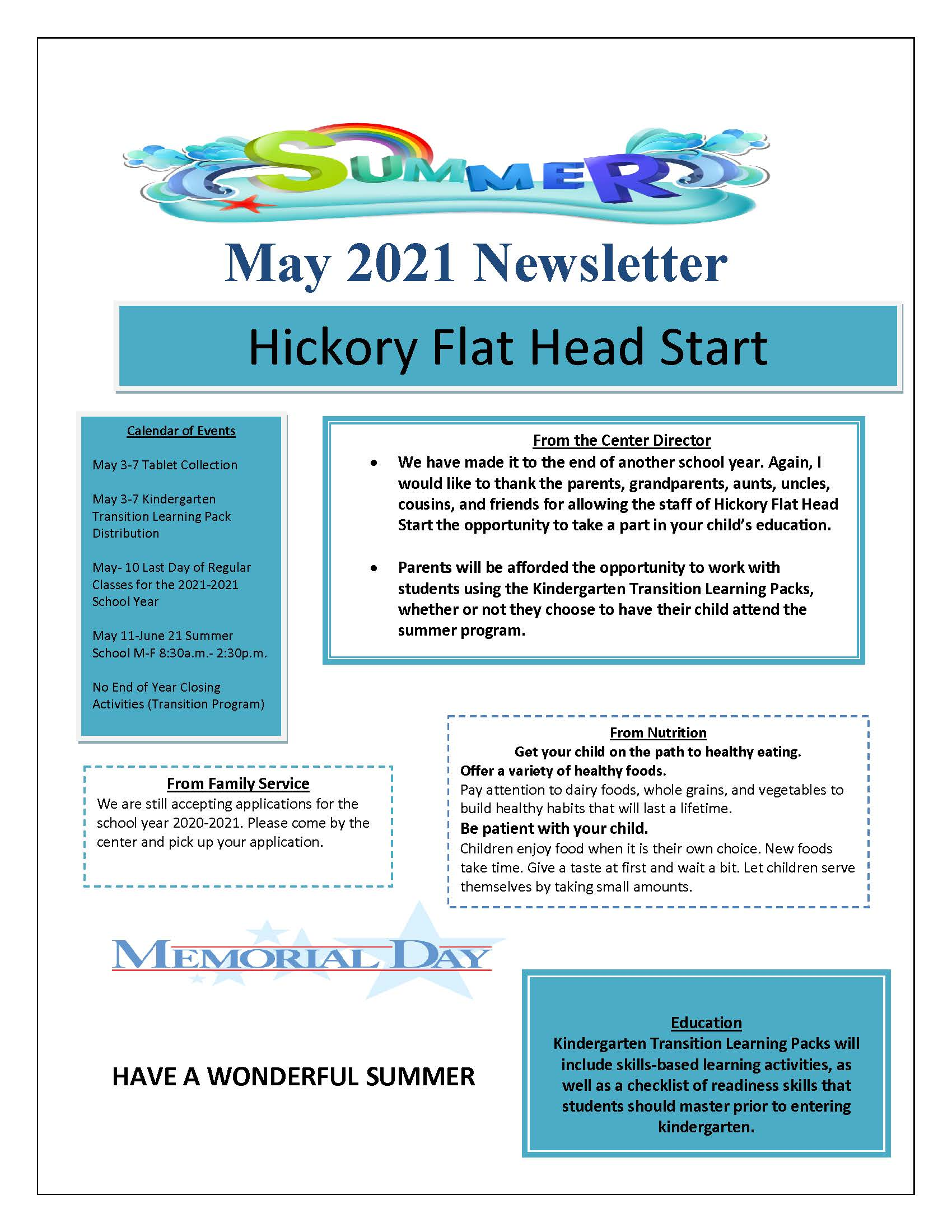 May, 2021 Newsletter