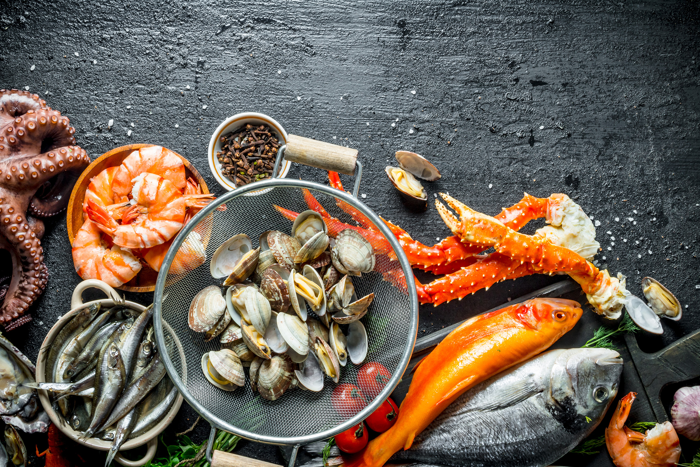 Bar Harbor Seafood retail store sample variety including clams, shrimp, octopus, king crab legs and more