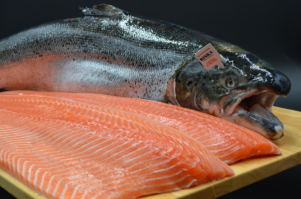 Bar Harbor Seafood fresh faroe salmon whole and two fillets