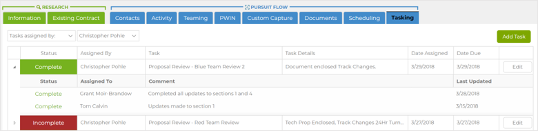 Capture2Proposal's Task Manager Ensures Efficient Proposal Team Management.