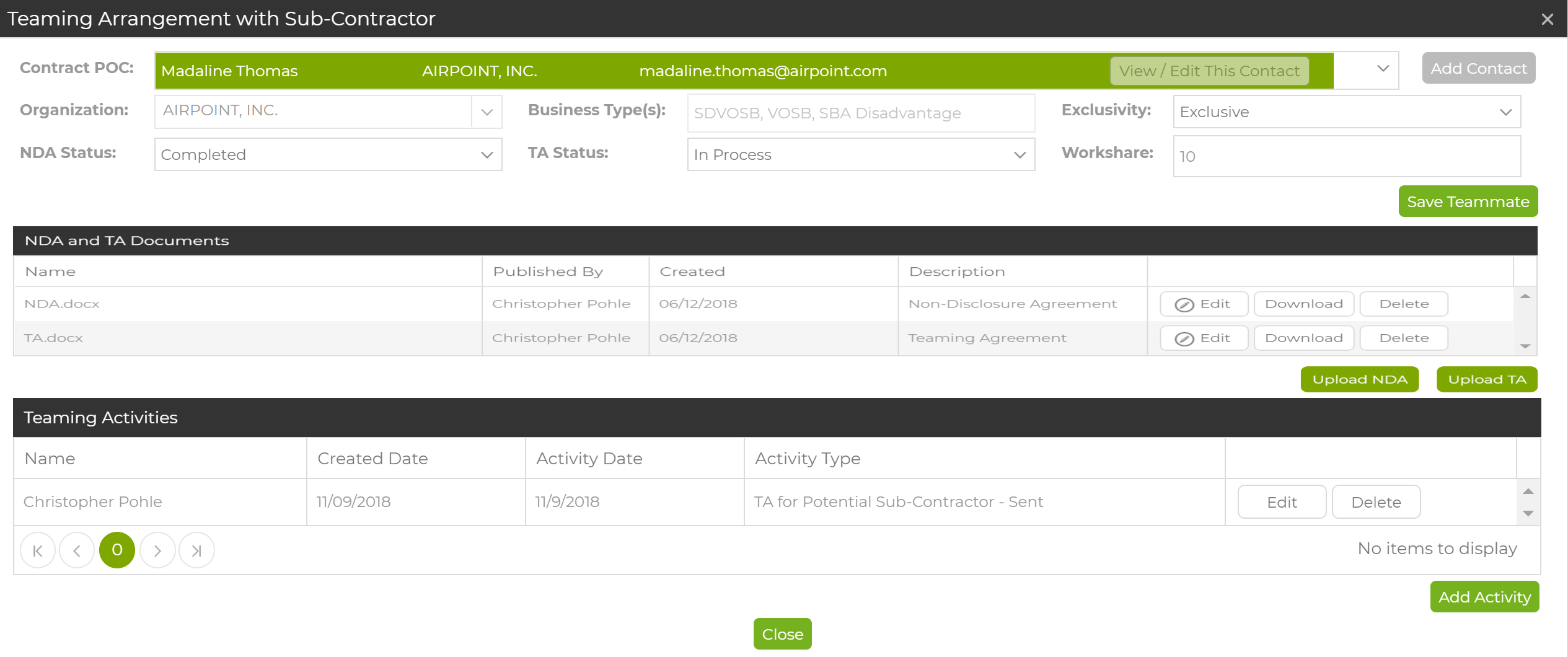 Teaming Agreement Details from Capture2's Team Management Tool for Subcontractors.