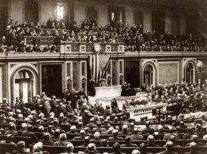 Woodrow Wilson addresses Congress on April 2, 191