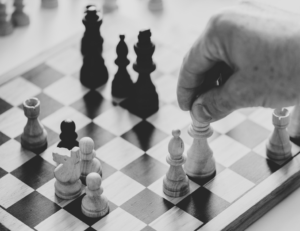 A Black and White photo of a chess board.