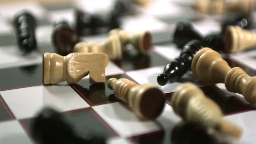 chess table with pieces