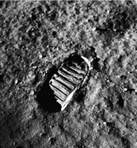 A space boot footprint on the moon