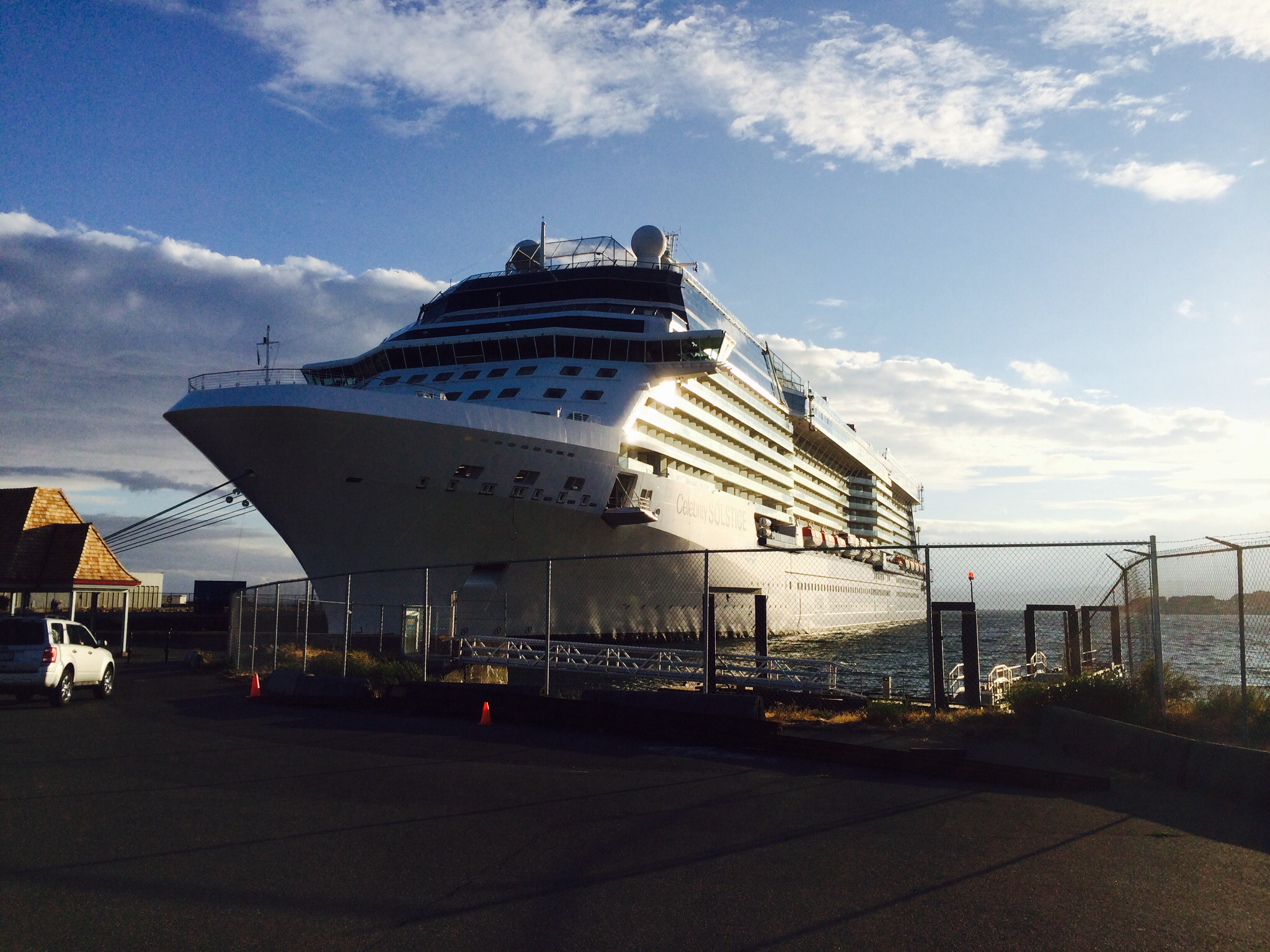 Celebrity Solstice is one of the cruise ships at Ogden Point