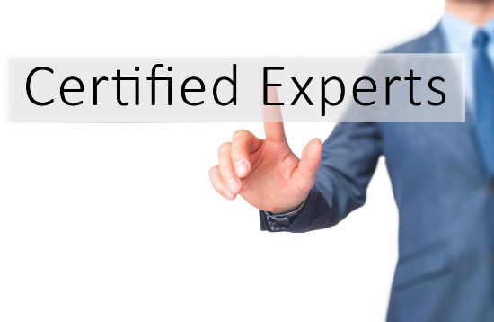 IT professional pointing to words Certified Experts