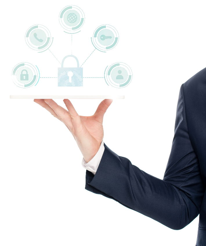 Man holding technology solutions icons including cloud, internet, network, cyber security