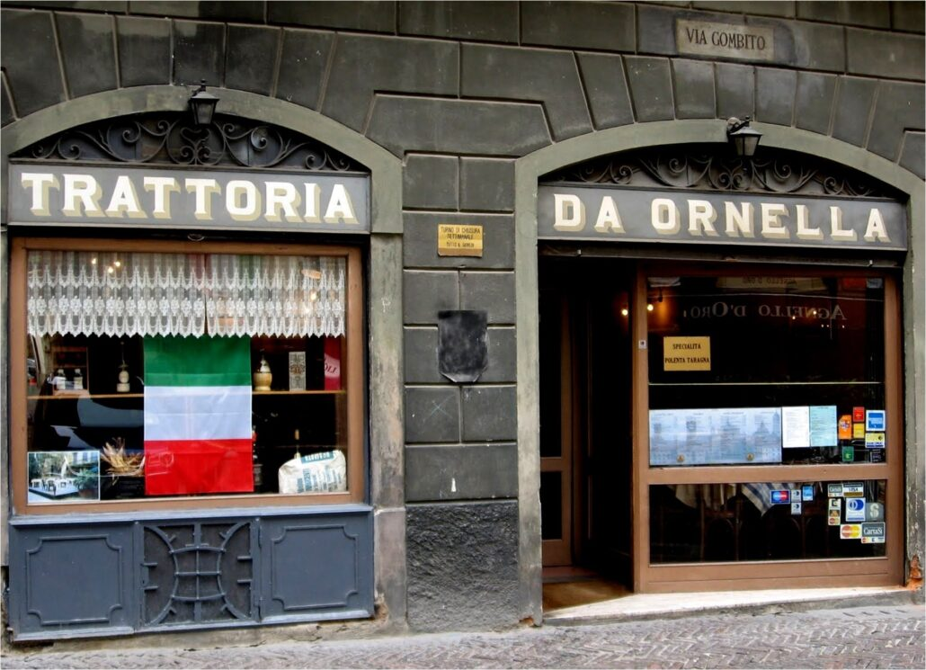 Storefronts in Citti Alta.
