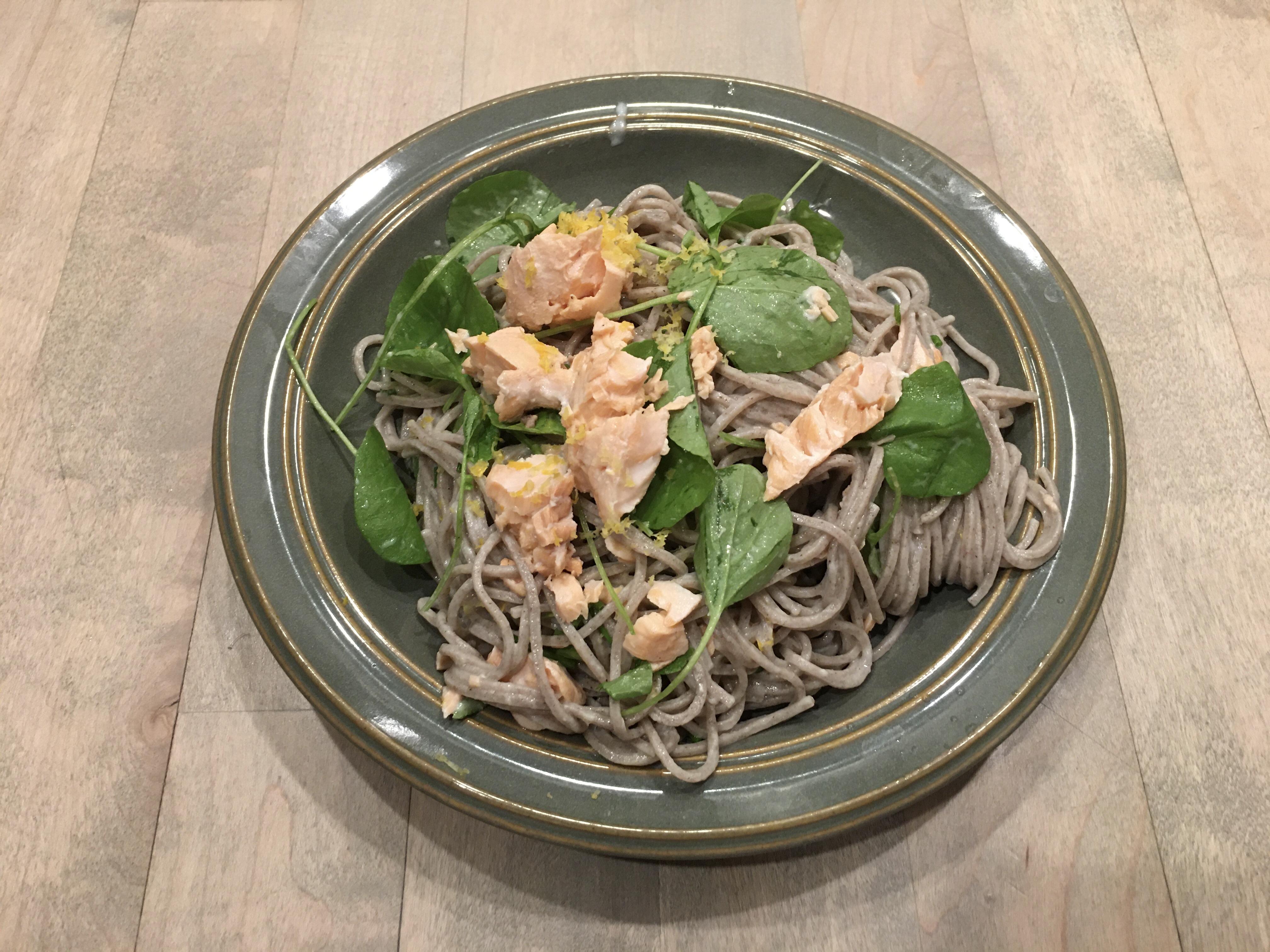 Soba Noodles w/ Salmon & Watercress