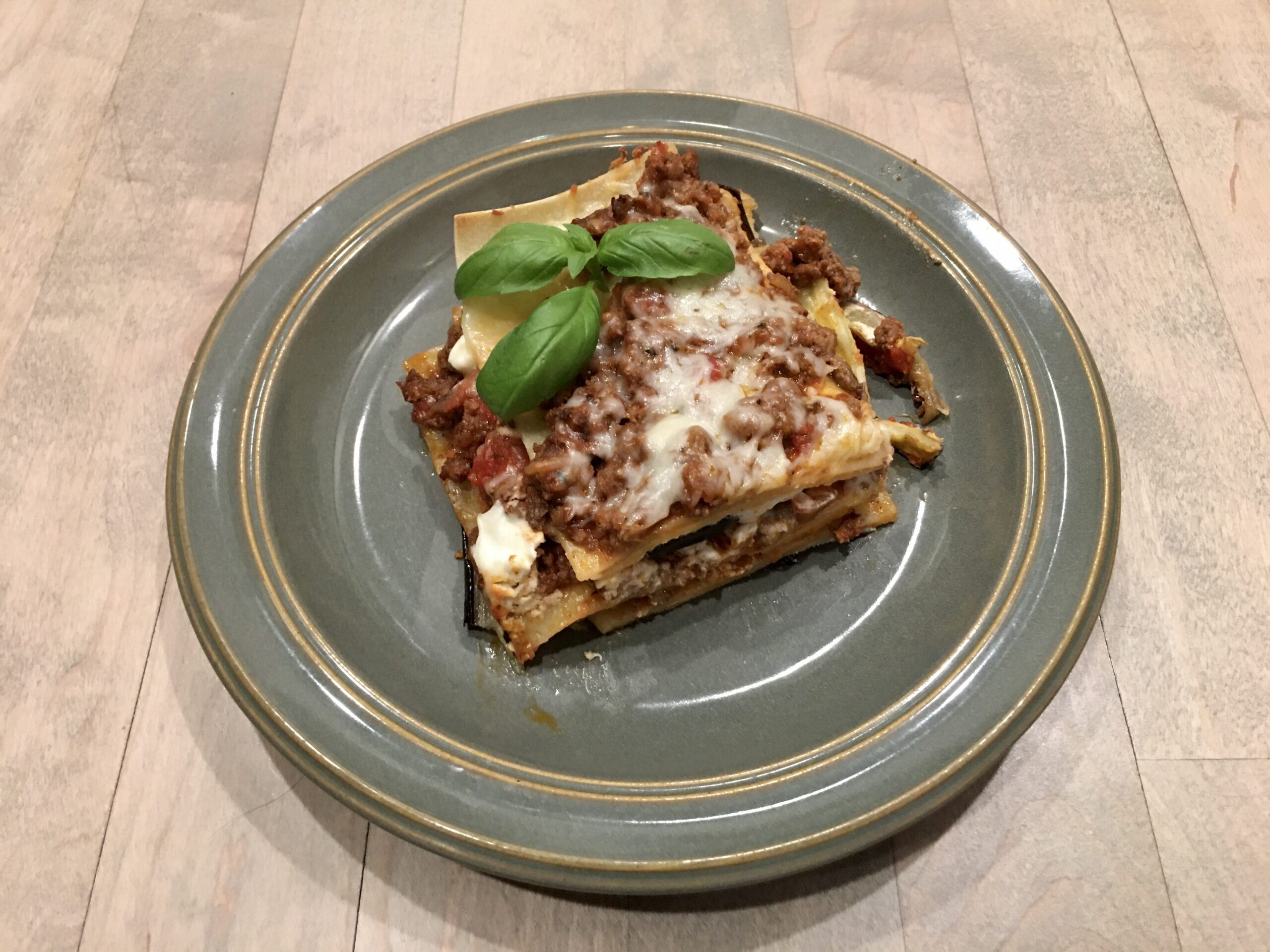 Eggplant Lasagna served on a green plate
