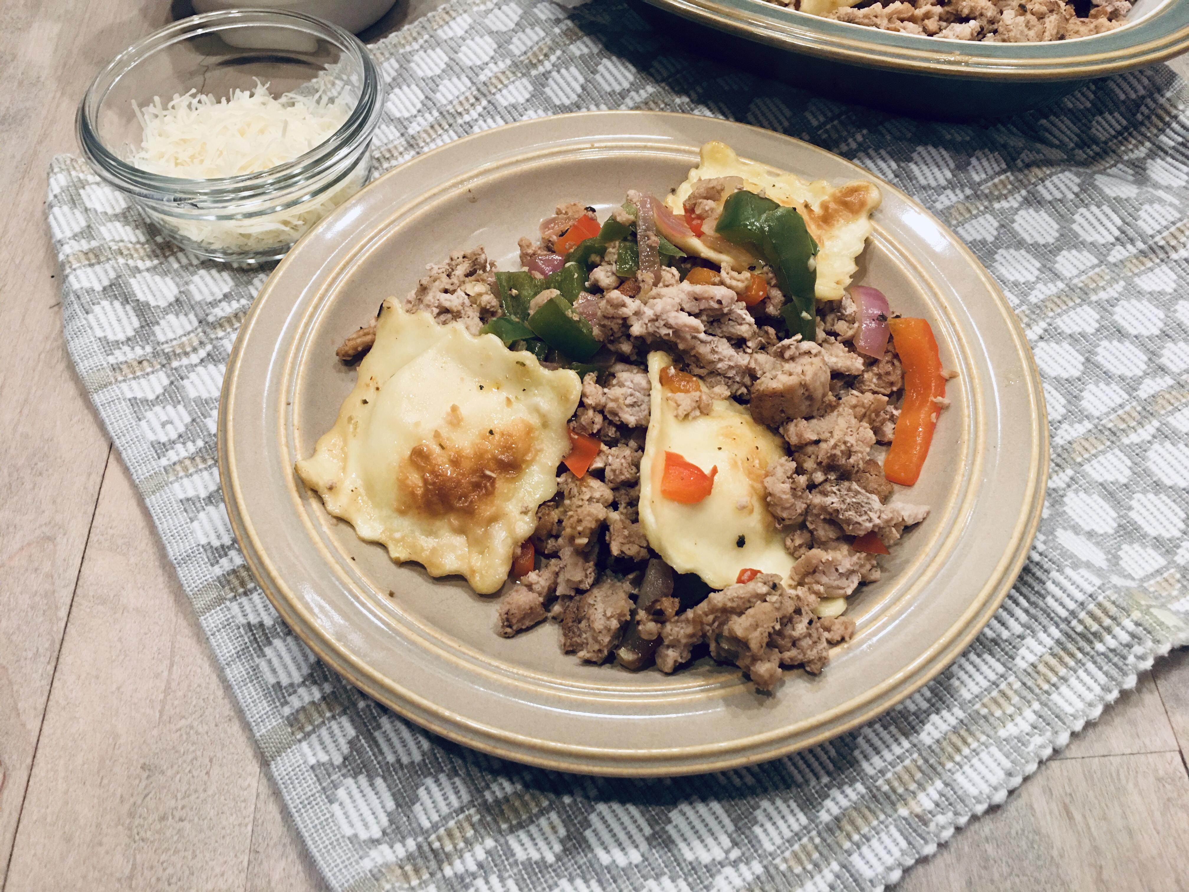 Ground Turkey & Cheese Ravioli Stir-fry