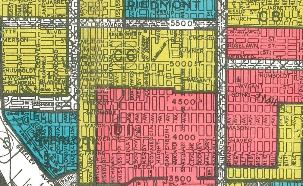 Redline map of Portland zoomed in on Walnut Park (Source: Restore Oregon)
