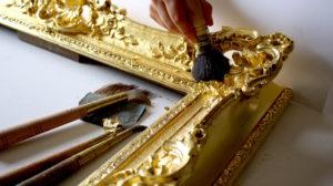 Rich and Davis custom frame makers oil-gilding and burnished water-gilt highlights frame restoration