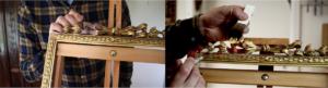 Rich and Davis antique frame with ribbon ornament under restoration melbournes best frame repairer