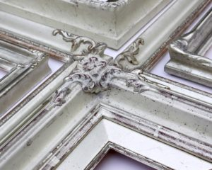 Rich and Davis Custom Bespoke Frames White Gold Ornamental Melbournes Best Picture Framers
