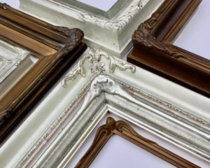large bespoke frames rich and davis white gold and dutch metal