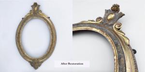 ornamental gilded oval picture frame after restoration