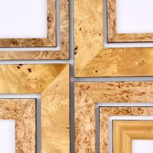 Rich and Davis custom frames veneered profiles huon pine, pippy oak and plane tree