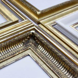 Rich and Davis gilded and burnished hand-made frames acanthus leaf corner