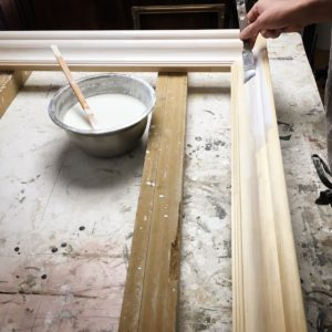 Picture frame traditional gesso hand application with brush