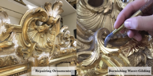 Picture frame restoration before showing two restoration processes water-gilding
