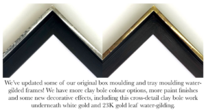 Gilded tray frames with cross detailed clay bole and paint finishes