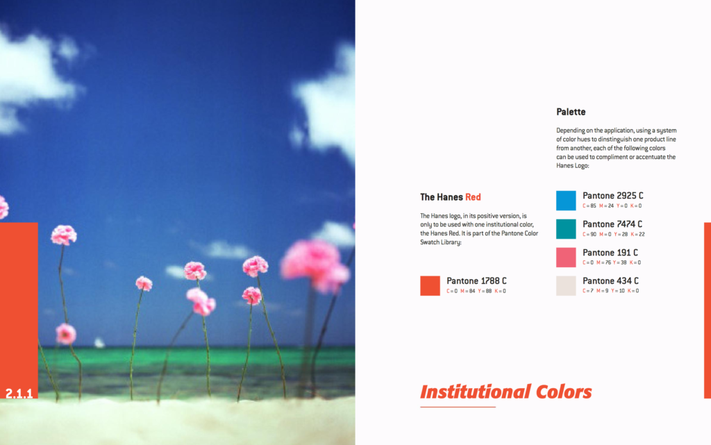 Example of a branding style guide from Hanes