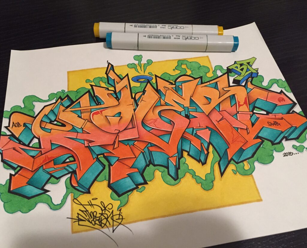 """Nover"", Markers & Pen on Paper, 2013."