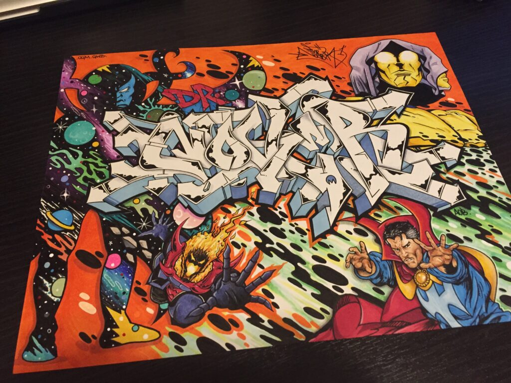 Marvel Characters, by Nover, Markers & Pen on Paper, 2015.