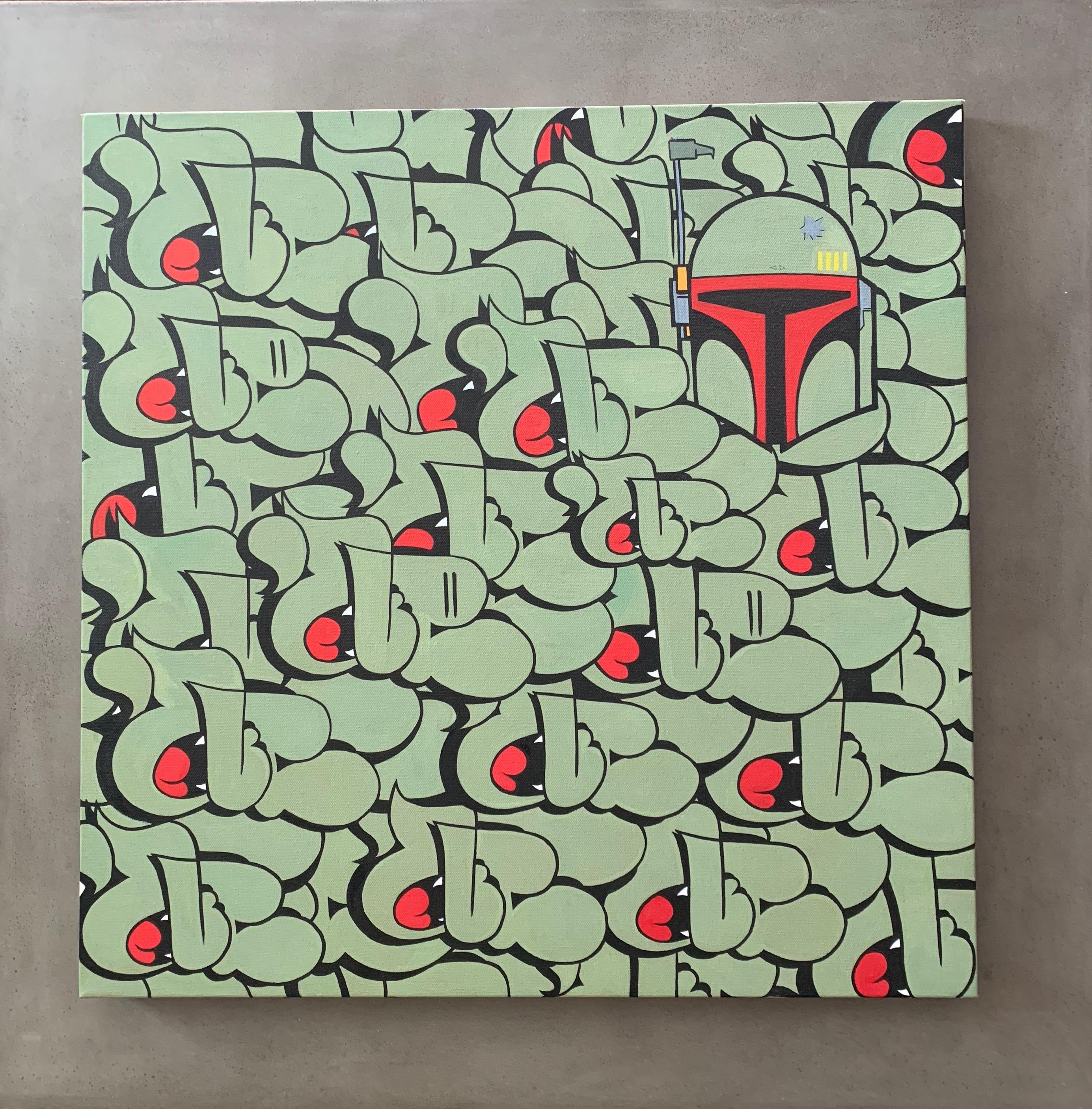 "Boba Fett x Nover, 24x24"" Acrylic on Canvas. 2016."
