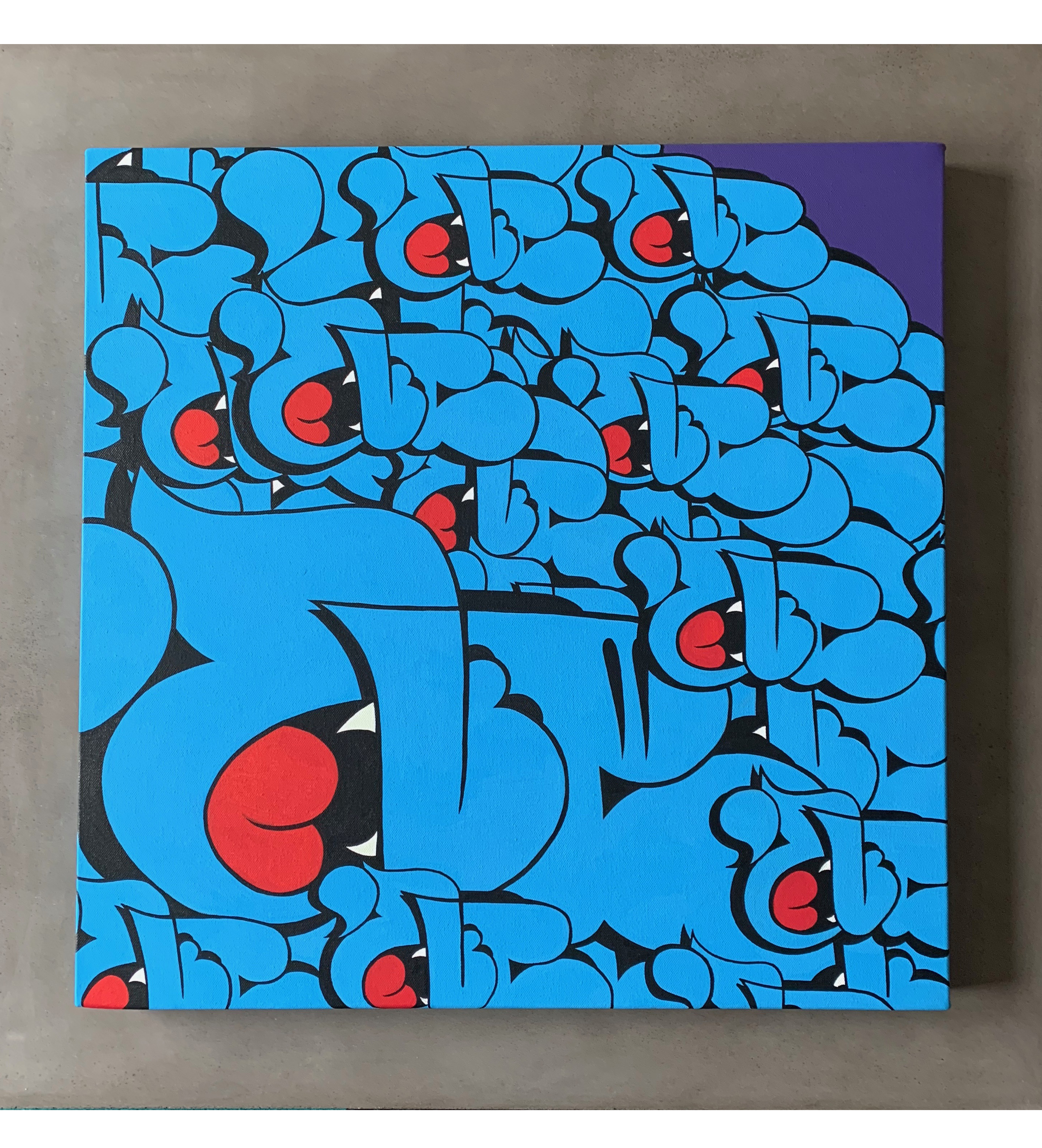 24' Throwie Canvas by Nover, Acrylic Paint & Markers, 2019.