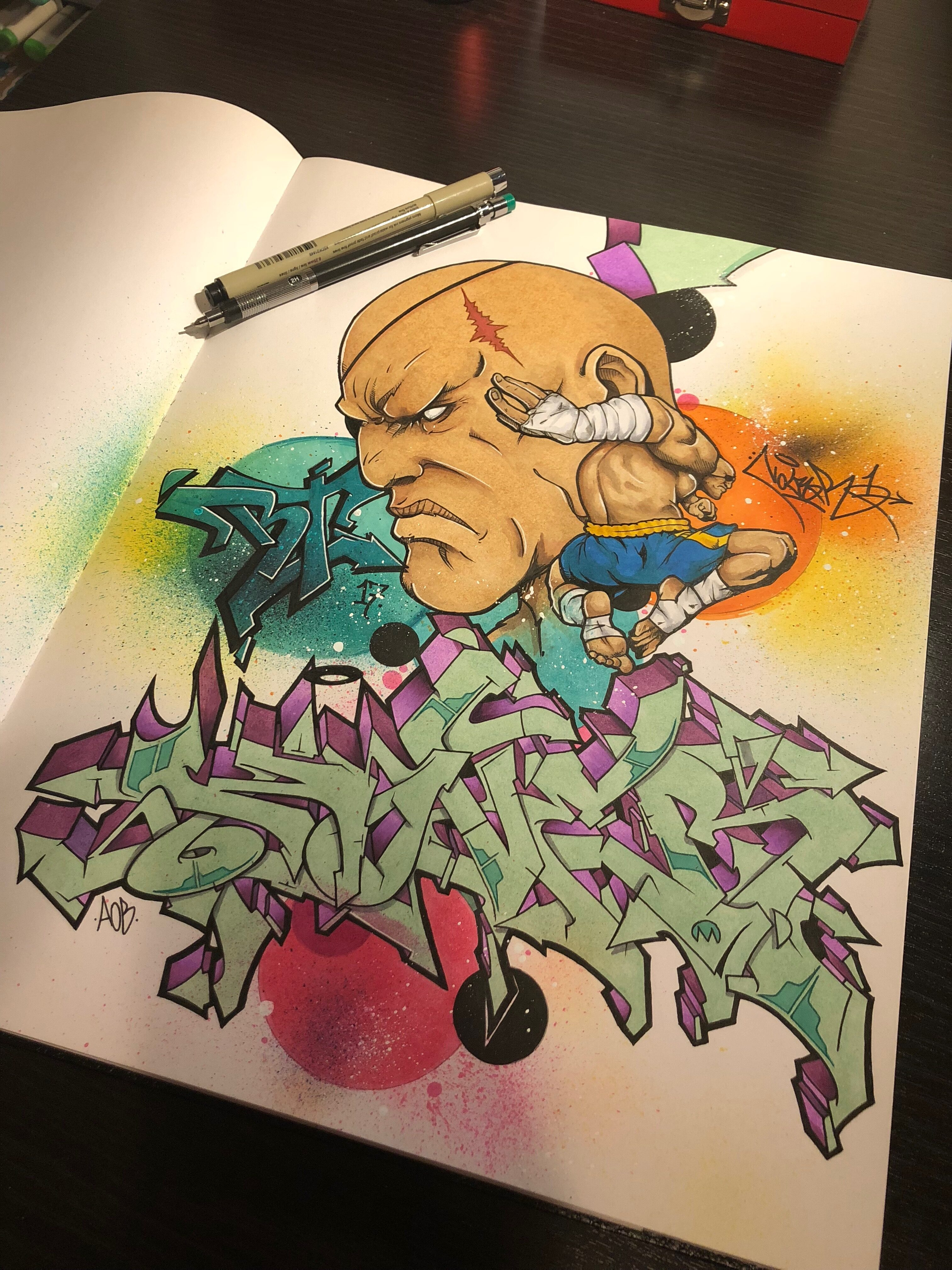 Sagat by Nover, Pens and Markers in Blackbook, 2017.